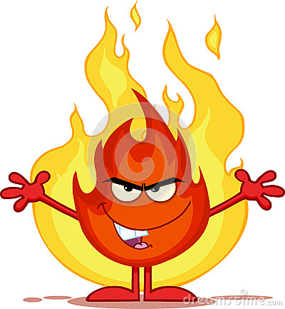 Evil Fire Cartoon Character With Open Arms In Front Of Flames Stock Illustration - Image: 44292773