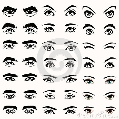 Eyes And Eyebrows Silhouette, Royalty Free Stock Photos