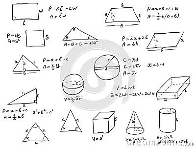 Fórmulas Escritas Mão Da Geometria Fotografia de Stock