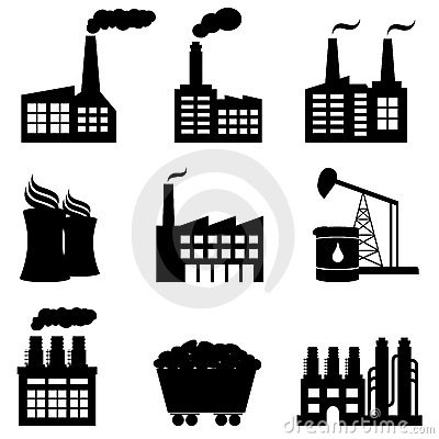 Factory, Nuclear Power Plant And Energy Icons Royalty Free