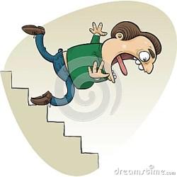 cartoon stairs falling down falls trips