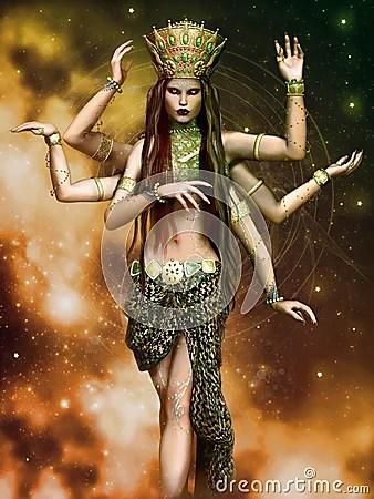 Fantasy Goddess With Six Arms Stock Illustration Image