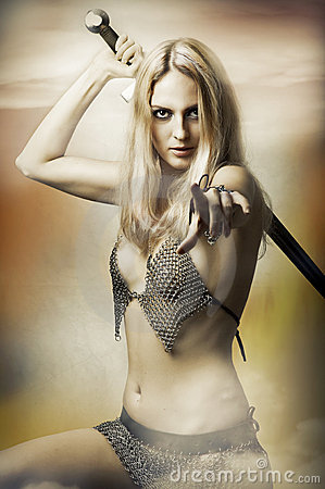 Fantasy Portrait Of Sexy Woman Fighter Stock Images