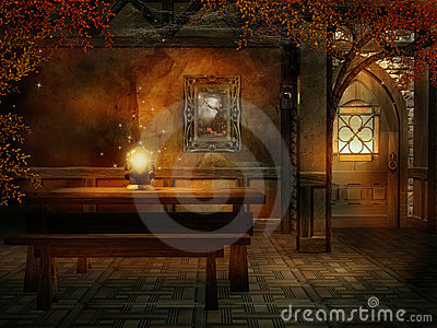 Fantasy Room With A Magic Crystal Royalty Free Stock
