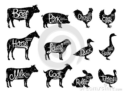 Farm Animals Silhouettes Collection. Butchery Labels