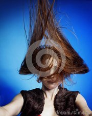 fashion model with hair blowing