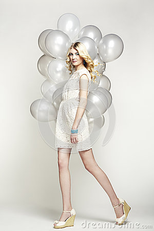 Fashion Photo Of Beautiful Woman With Balloon Girl Posing