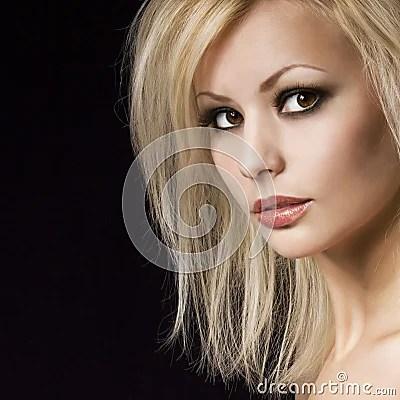Fashion Portrait Beautiful Blonde Woman With Professional