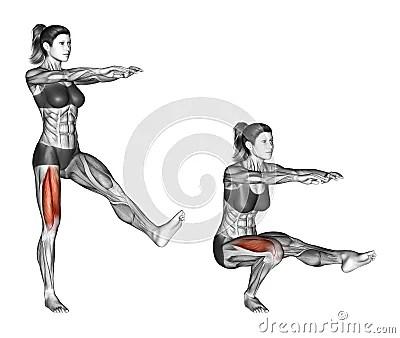 Fitness Exercising. Pistol Squat. Female Stock