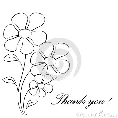 Flower Illustrations, Thank You Card Stock Illustration