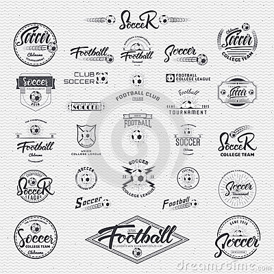 Football, Soccer Hand Lettering Badges Labels Can Be Used