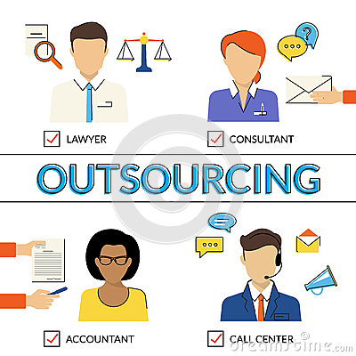 Four Types Of Outsoursing Stock Vector  Image 58689973