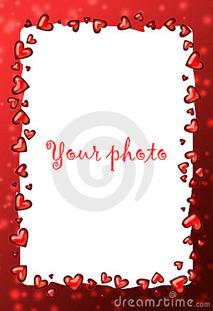 Frame Red With Heart Valentine Frame Royalty Free Stock