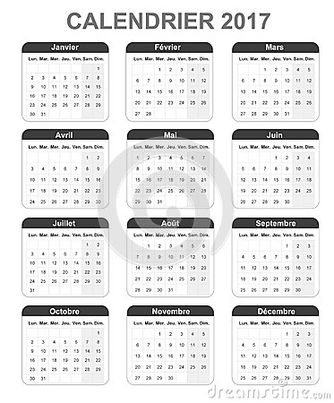 French Monthly Simple Calendar For 2017, Monday To Sunday