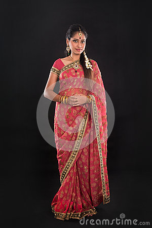 Full Body Traditional Indian Girl In Sari Stock Photo