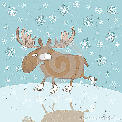 Funny Moose Ice Skating Christmas Card Royalty Free Stock