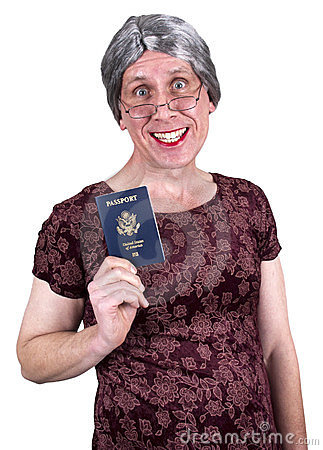 Funny Old Ugly Mature Senior Woman Passport Travel Stock