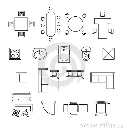 Furniture Linear Vector Symbols. Floor Plan Icons Stock