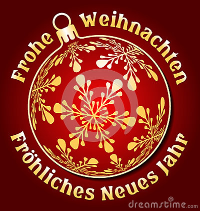 German Merry Christmas And Happy New Year Background Stock