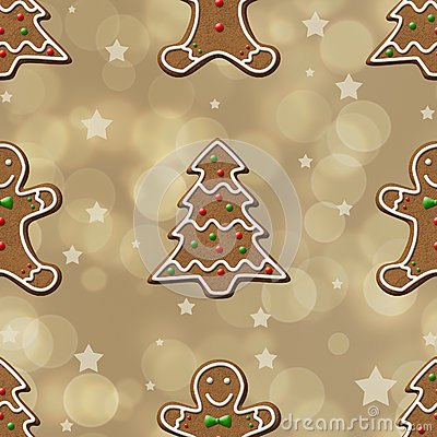 Gingerbread Cookies Seamless Pattern Royalty Free Stock