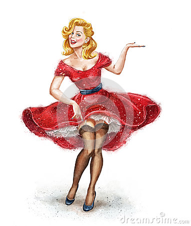 Girl With Open Hand In Vintage Style Pin Up Girl Party
