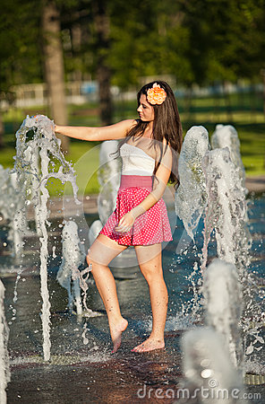Girl Wearing Red Skirt Playing Water Fountain Royalty Free Stock Photography  Image 25704487