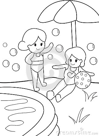 Pool Party Coloring Pages Sketch Coloring Page