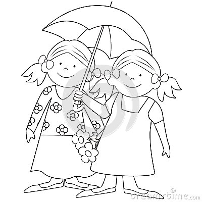 Girls And Umbrella-coloring Royalty Free Stock Images