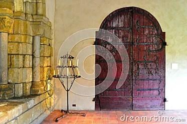 gothic castle interior candelabra door