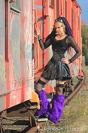 Gothic Pvc Fashion On Train Royalty Free Stock Photography