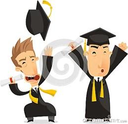 cartoon illustration students degree celebrating graduate bachelor academic graduates award