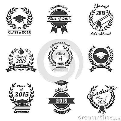 Graduation Labels. High School And Congratulations Stock