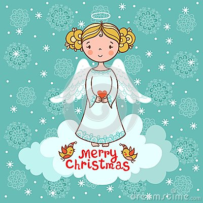 Greeting Card Christmas Card With Angel Royalty Free