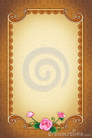 Greeting Card With Ornamental Background And Frame Stock