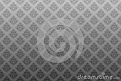 Grijs Zwart Antiek Naadloos Behang Stock Afbeelding