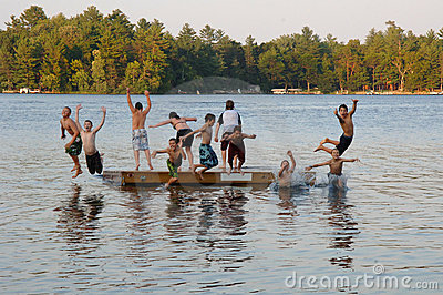 Group Of Kids Jumping Into Lake Royalty Free Stock Photos  Image 6359008