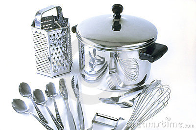 Group Of Stainless Steel Kitchen Items Royalty Free Stock