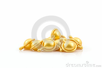 hair vitamin serum capsule gold color stock photo image