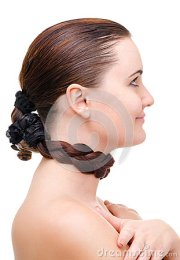 hair wrapped neck royalty free