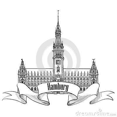Hamburg Landmark, Germany. Germany Sketch Symbol Royalty