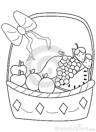 Hand Drawn Coloring Page Of A Fruit Basket Stock