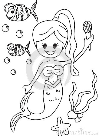 Hand Drawn Coloring Page Of A Mermaid Stock Illustration