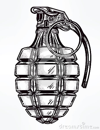 Hand Drawn Design Of An Army Manual Grenade. Stock Vector
