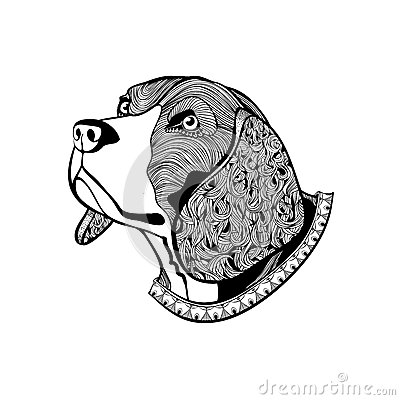 Hand Drawn Dogs Face Beagles Head With Collar In