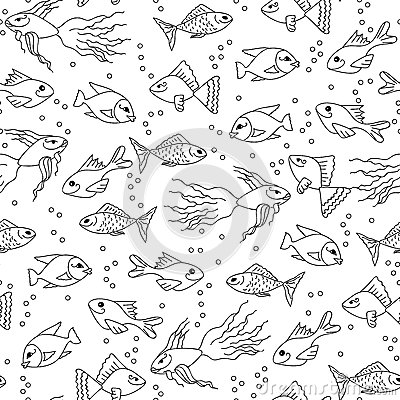 Hand Drawn Fish In Water Seamless Pattern For Adult