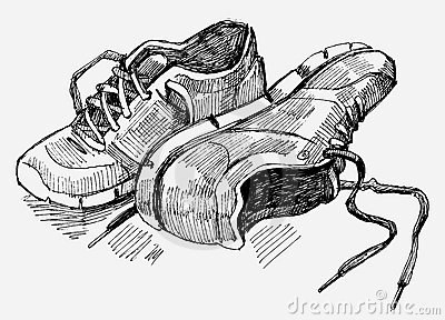 Hand Drawn Illustration Of Sneakers Royalty Free Stock
