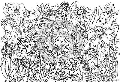 Hand Drawn With Ink Background With Doodles Flowers