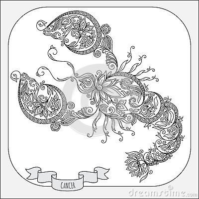 Hand Drawn Pattern For Coloring Book Zodiac Cancer. Stock