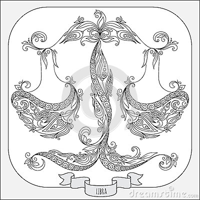 Hand Drawn Pattern For Coloring Book Zodiac Libra. Stock
