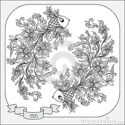 Hand Drawn Pattern For Coloring Book Zodiac Pisces. Stock